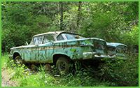 Turquoise junk car