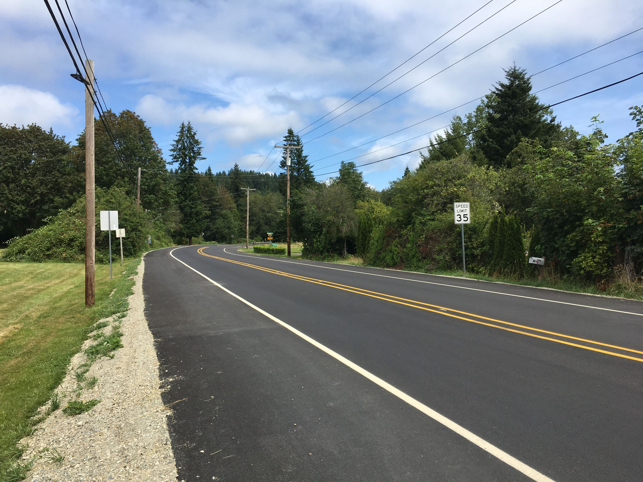 Newly paved and striped Center Rd.